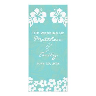 Aqua Beach Flowers Wedding Program Custom Rack Card