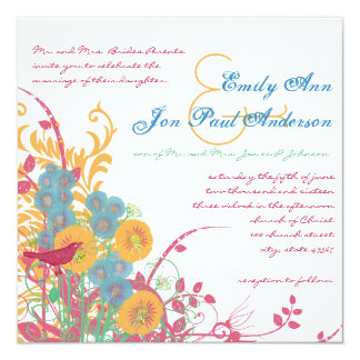 Aqua Beeswax Raspberry Wild Flower Bird Wedding 13 Cm X 13 Cm Square Invitation Card