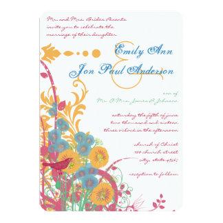 Aqua Beeswax Raspberry Wild Flower Bird Wedding 13 Cm X 18 Cm Invitation Card