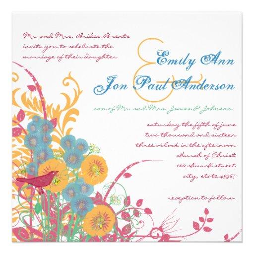 Aqua Beeswax Raspberry Wild Flower Bird Wedding Personalized Invitation