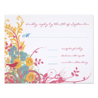 Aqua Beeswax Raspberry Wild Flower Bird Wedding Invite