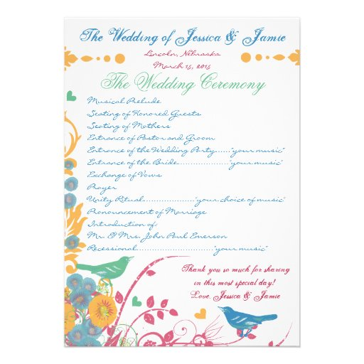 Aqua Beeswax Raspberry Wild Flower Bird Wedding Personalized Announcement