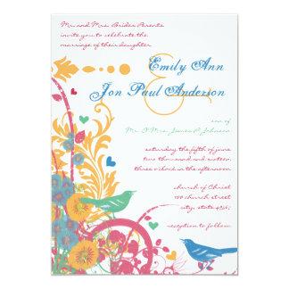 "Aqua Beeswax Raspberry Wild Flower Bird Wedding 5"" X 7"" Invitation Card"