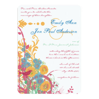 Aqua Beeswax Raspberry Wild Flower Bird Wedding Invitations
