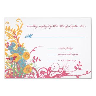 "Aqua Beeswax Raspberry Wild Flower Bird Wedding 3.5"" X 5"" Invitation Card"