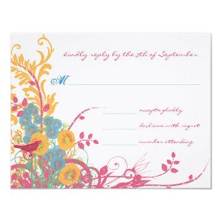 "Aqua Beeswax Raspberry Wild Flower Bird Wedding 4.25"" X 5.5"" Invitation Card"