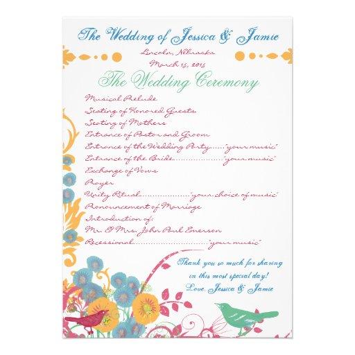 Aqua Beeswax Raspberry Wild Flower Bird Wedding Invites