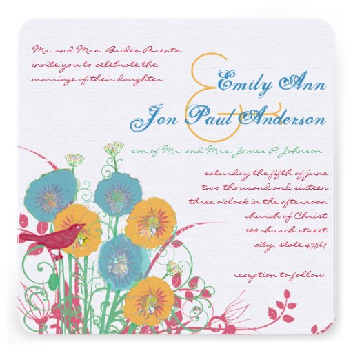 Aqua Beeswax Raspberry Wild Flower Bird Wedding Announcements
