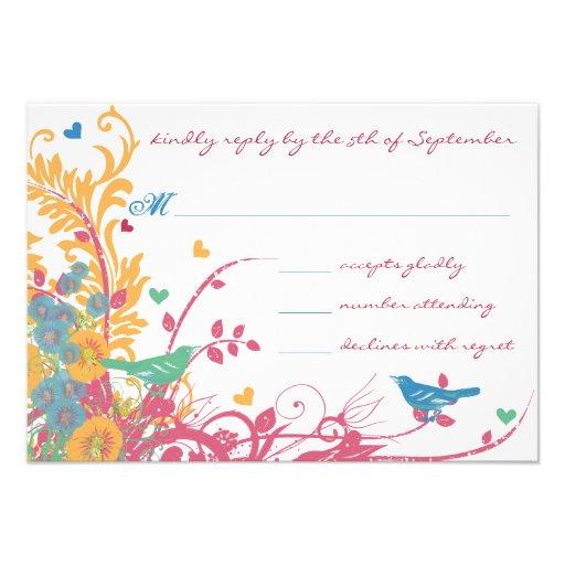 Aqua Beeswax Raspberry Wild Flower Bird Wedding Custom Invitation