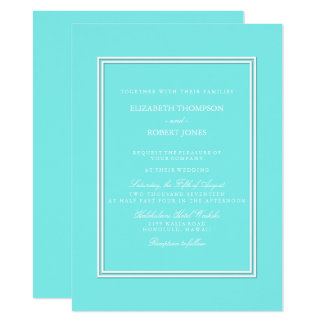 Aqua Belle Aqua Blue and White Text Wedding 14 Cm X 19 Cm Invitation Card