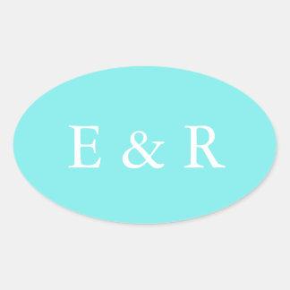 Aqua Belle Aqua Blue and White Text Wedding Oval Sticker