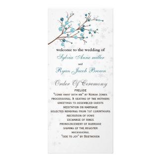 aqua berries elegant winter Wedding program Rack Cards