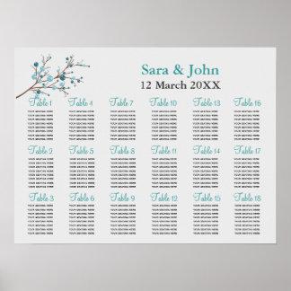 aqua berries winter wedding Seating Chart Poster