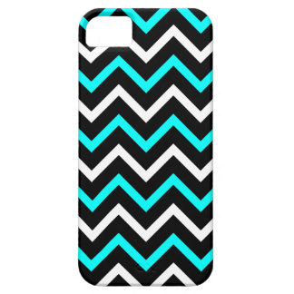 Aqua, Black and White Chevron Pattern (Zig Zag) Case For The iPhone 5