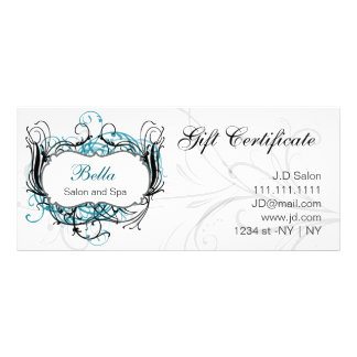 aqua,black and white Chic Gift Certificates Rack Cards