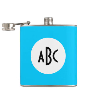 Aqua Black and White Monogram Flasks