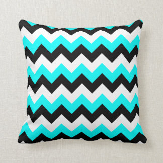 Aqua Black and White Zigzag Throw Cushions