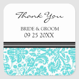 Aqua Black Damask Thank You Wedding Favor Tags Square Sticker