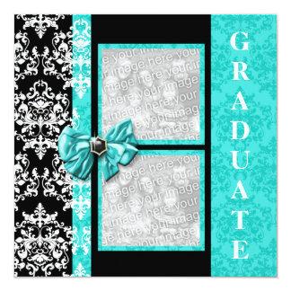 Aqua black graduation damask template PERSONALIZE