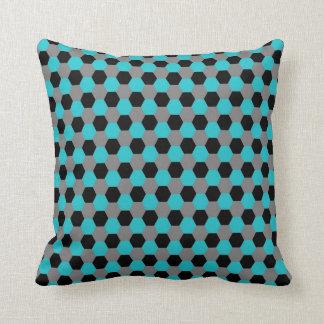 Aqua Black Gray Hexagons Pillow
