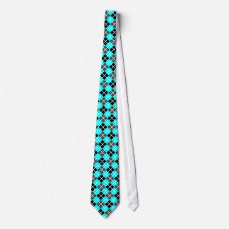 Aqua, Black, Grey and White Argyle Print Necktie