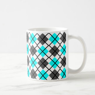 Aqua, Black, Grey on White Argyle Print Mug