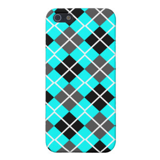 Aqua, Black, Grey & White Argyle iPhone 4 Case