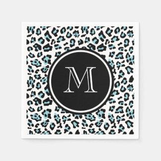 Aqua Black Leopard Animal Print with Monogram Paper Serviettes