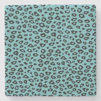 Aqua Black Leopard Print Stone Beverage Coaster