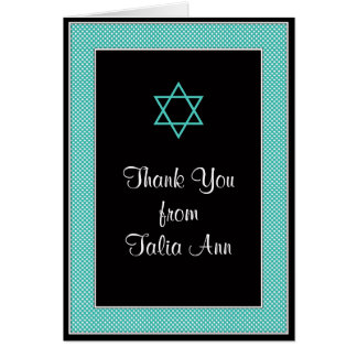 Aqua Black Mini Polka Dot Bat Mitzvah Thank You Card