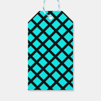 Aqua black pattern gift tags