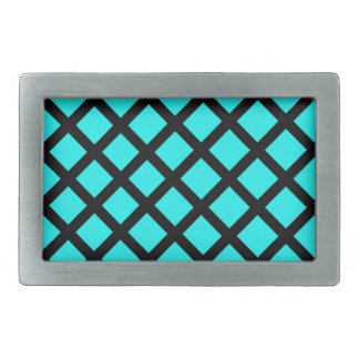 Aqua black pattern rectangular belt buckle