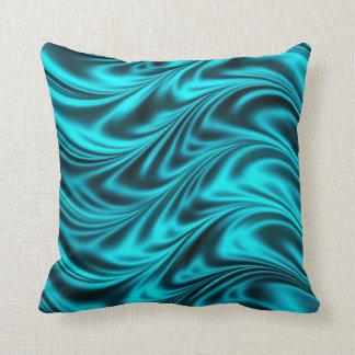 Aqua black silky waves cushion
