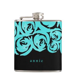 Aqua & Black Watercolor Roses Hip Flask