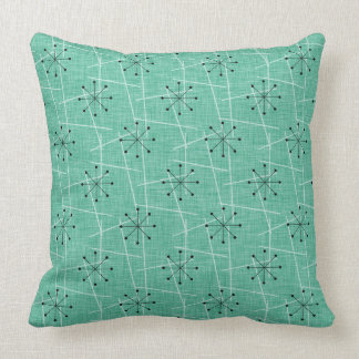 Aqua, Black, White | Atomic | Mid-Century Cushion