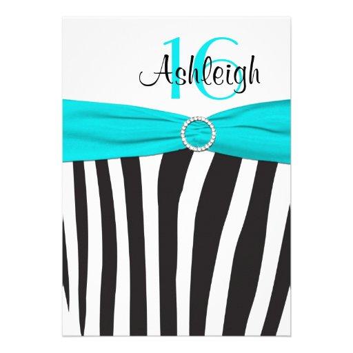 Aqua, Black, White Zebra 16th Birthday Invitation