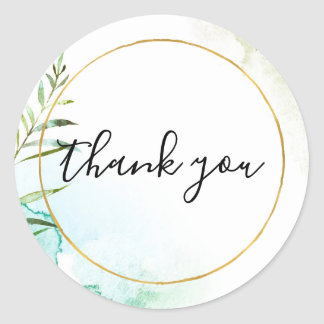 Aqua Bliss Leaves Watercolor Thank you Classic Round Sticker