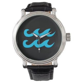 Aqua Blue and Black Aquarius Symbol Watch