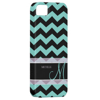 Aqua Blue and Black Chevron Pattern with Monogram iPhone 5 Cover