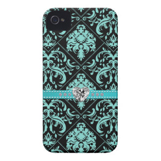 Aqua Blue and Black Damasked Pattern w/ Diamonds iPhone 4 Cases