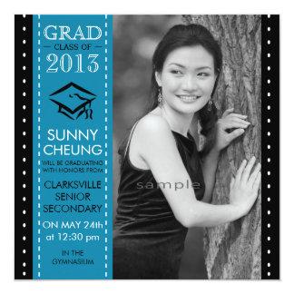 Aqua Blue and Black Large Photo Graduation Custom Invitations