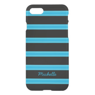 Aqua Blue and Black Striped Personalized iPhone 8/7 Case