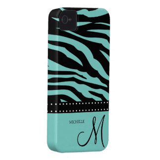 Aqua Blue and Black Zebra Patterns iPhone 4 Covers