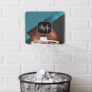 Aqua blue and bronze sparkles modern Monogram Mini Basketball Hoop