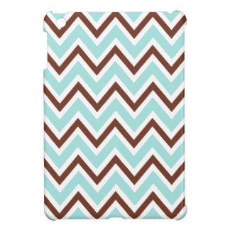Aqua blue and brown zigzag chevron pattern trendy iPad mini cover