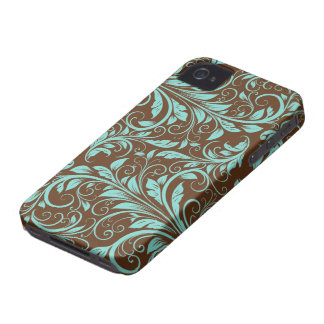 Aqua Blue and Chocholate Brown Damask Pattern iPhone 4 Covers
