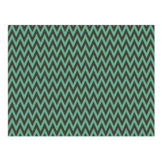 Aqua Blue and Gray Chevron Zig Zag Stripes Postcard