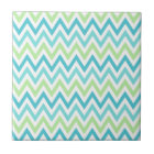 Aqua, blue and lime green chevron zigzag pattern tile