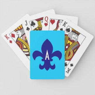 Aqua Blue and Navy Fleur de Lis Monogram Playing Cards