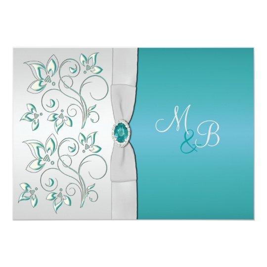 Aqua Blue and Silver Monogrammed Invitation